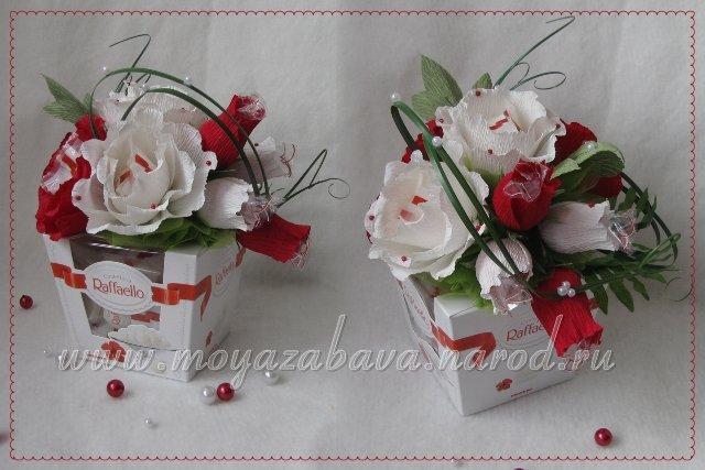 Цветы из конфет рафаэлло и гофрированной бумаги мастер класс